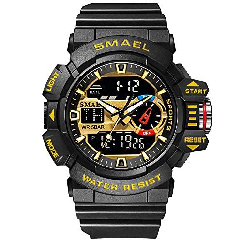 Reloj de pulsera para hombre con cronógrafo, digital, resistente al agua, analógico, cronómetro, reloj deportivo digital para GXHQFJY, Oro negro.,