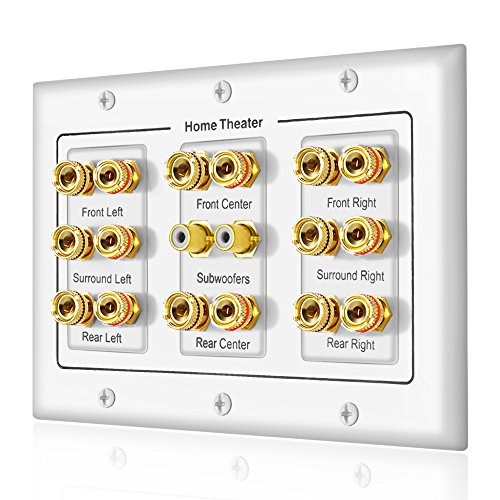 5 6 7.1/7.2 or 8.1/8.2 One or Two Subwoofer Compatible 16 Banana Post and 2 RCA Speaker Wall Plate for Home Theater Audio