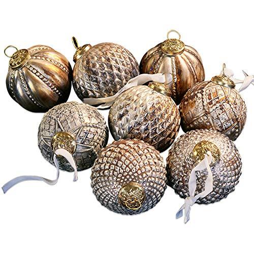 Loberon Weihnachtsschmuck 8er Set Silverlake, Messing, Glas, Metall, H/Ø 10/10 cm, Bronze
