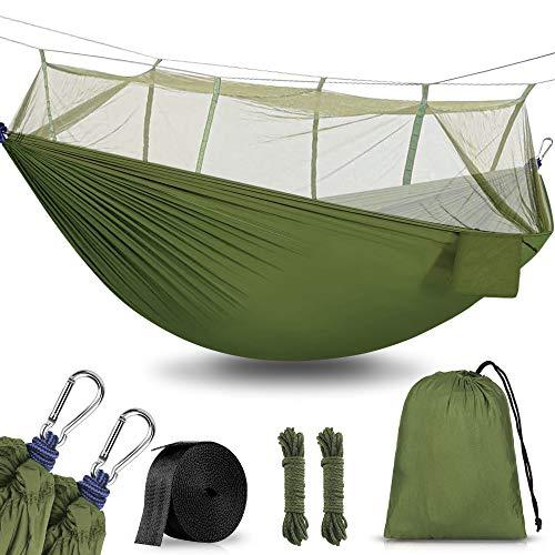 Hamaca para Acampar con mosquitera, 260x140cm Hamacas Camping Colgantes Portátil, Nailon de Paracaídas de Secado Rápido, Transpirable Ultra Ligera para Viaje y Playa, Capacidad 300KG(Verde)