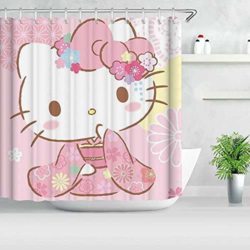 Bfrdollf Hello Kitty Duschvorhang-Sets & rutschfeste Teppiche, Wasserdichter WC-Pad-Bezug, Badematte, Duschvorhang-Set mit 12 Haken (4,120×200cm)
