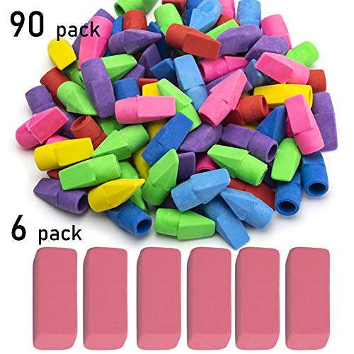 Sooez Pencil Erasers, 90 Pack Pencil Top Erasers & 6 Pack Pink Erasers, Cap Erasers Eraser Tops Pencil Eraser Toppers School Erasers for Kids School Supplies for Teachers Pencil Erasers