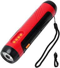 LED Flashlight Multi-Function Voice Alarm FM Radio Flashlight Hand Crank Generator Powered LED Flashlight