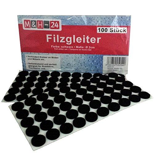 Filzgleiter 20mm Set Selbstklebend Schwarz - Möbelgleiter Filzunterlage Filzunterleger Bodenschutz Kratzschutz Rund Filz 100 Stück