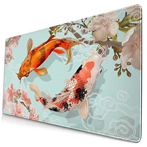 Large Gaming Mouse Pad Koi Fish Extended Mouse Pads Non-Slip Rubber Base Waterproof Keyboard Pad Desk Mat for Game Work Office 29.5×15.8 inch