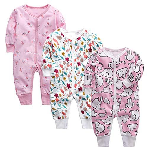 Vine 3 Pezzi Body Neonati a Manica Lunghe Bambini di Tutina Cotone Pagliaccetto Neonato Pigiama Comodo Abbigliamento Regalo 9-12 Mesi