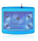ZUIZUI Refrigerador portátil almohadilla de refrigeración para ordenador portátil, 5 ventiladores hasta 17,3 pulgadas pesados, luces LED azules, 2 puertos USB
