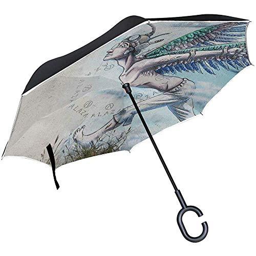 Reverse-Regenschirm UV-Schutz mit C-förmigem Griff Reverse-Regenschirm für den Außenbereich Winddicht Double Layer Inverted Angel Painting