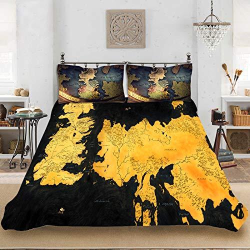 WTTING - Juego de cama de microfibra con diseño de juego de tronos, con funda nórdica y fundas de almohada (2 o 3 piezas, juego de cama estampado en 3D, 135 x 200 cm)