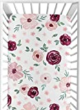 Sweet Jojo Designs Burgundy Watercolor Floral Girl Fitted Crib Sheet Baby or Toddler Bed Nursery - Blush Pink, Maroon, Wine, Rose, Green and White Shabby Chic Flower Farmhouse