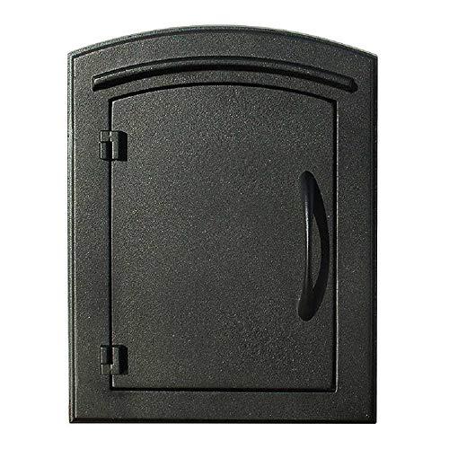 Qualarc MC-1400-BLK Manchester Plain Door Column Mount Non-Locking Mailbox, Black