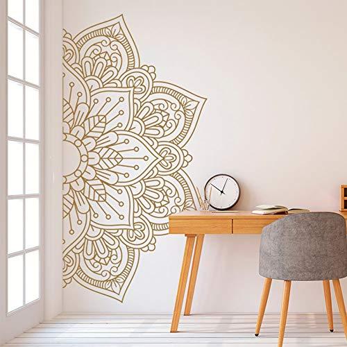 Flower Wall Sticker Half Mandala Waterproof Door Window Decal Yoga Meditation Room Bedroom Interior Decor Wallpaper Other Color 85x42cm