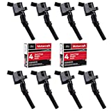 MAS Ignition Coil DG508 & Motorcraft Spark Plug SP479 compatible with Ford 4.6L 5.4L V8 DG457 DG472 DG491 CROWN VICTORIA EXPEDITION F-150 F-250 MUSTANG LINCOLN MERCURY EXPLORER (Set of 8)