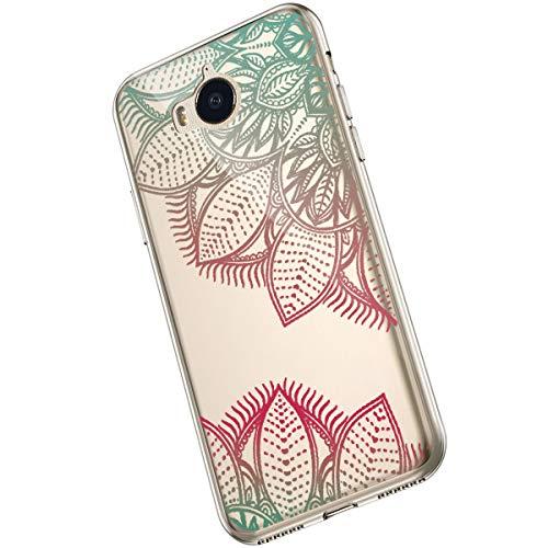 Saceebe Compatible avec Huawei Y5 / Y6 2017 Coque Clair Souple TPU Gel Silicone Mandala Fleur Motif Dessin Antichoc Housse de Protection Souple Mince Léger Case Anti-Rayures,Vert Rose