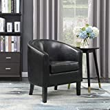 BELLEZE Modern Club Chair Accent Elegance Faux Leather Living Room Armrest Elegance Seat, Black