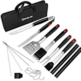 Heavy Duty BBQ Grill Accessories, 18 PCS Grill Tools Set with Case, Stainless Steel Spatula, Tongs, Fork, Cleaning Brush, Best Barbecue Grilling Set Gift for Dad Men &Women, Include Reusable Grill Mat