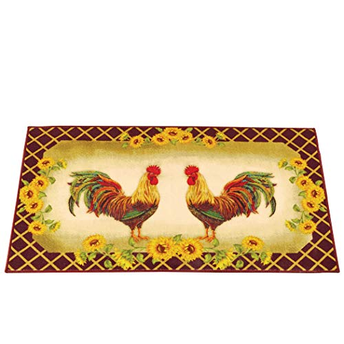 Classic French Country Roosters & Sunflowers  Yellow & Brown  27 x 45 inches