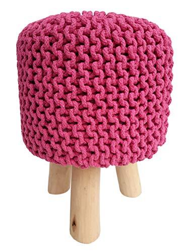 Sitzhocker Strick-Hocker Pouf Schemel mit Holzfüßen Ø 35 cm Höhe 45 cm Farbe pink