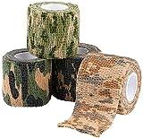 ASEOK 4 piezas, cinta de camuflaje, cinta de camuflaje para pistolas, cinta de camuflaje Stealth Camo cinta elástica para camuflaje, caza, camuflaje y rifle Wrap durable y reutilizable, longitud 4,5 m
