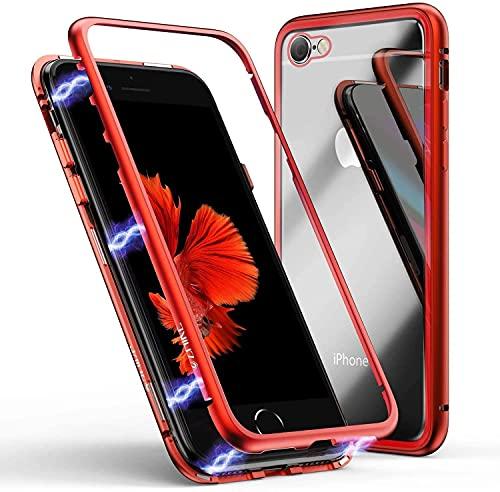 COVERBAZAR - Carcasa de cristal templado para iPhone 7 y 8 - se 2020, pantalla magnética de metal 360 grados, color negro y rojo