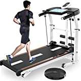 VKEKIEO 4 in 1 Mechanical Treadmill, Folding Walking Treadmill with Tablet Stand, LED Display, T-wisting Machine for Running, Sit-ups, Home Gym Traning, Indoor Sports, Workout Fitness