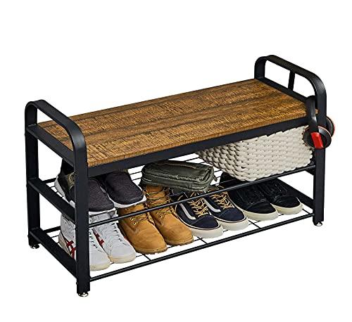 Meerveil Banc à Chaussures 90x34x56cm, 8 à 12 Paires de Chaussures, Étagère à Chaussures, 3 Niveaux, Banc Rangement Chaussures, pour Entrée, Chambre, Meuble à Chaussures, Marron et Noir