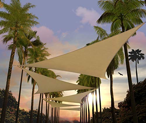 Amgo 12' x 12' x 12' Sand Beige Triangle Sun Shade Sail Canopy Awning ATAPT12, 95% UV Blockage, Water & Air Permeable, Commercial and Residential (Custom