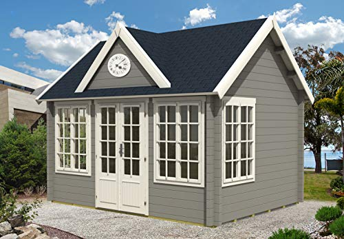 Alpholz Gartenhaus mit Satteldach Clockhouse-44 Royal ISO aus Massiv-Holz | Gerätehaus mit 44 mm Wandstärke | Garten Holzhaus inklusive Montagematerial | Geräteschuppen Größe: 420 x 320 cm | Satteldach