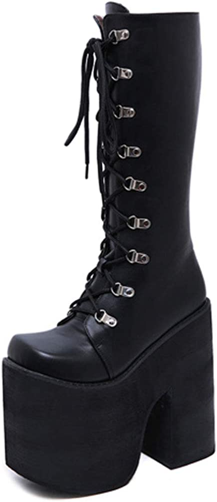 SaraIris Women's Platform Boots Chunky High Heel Goth Boots Zipper Round Toe Lace Up Ankle Boots Stage Catwalk Shoes
