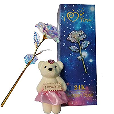 QUELIEN Colorful Rose Artificial Flower, Gold Roses Artificial Flowers Galaxy Rose Gift Box with Cute Bear for Women's Gifts, Thanksgiving Day, Christmas, Girlfriend Birthday