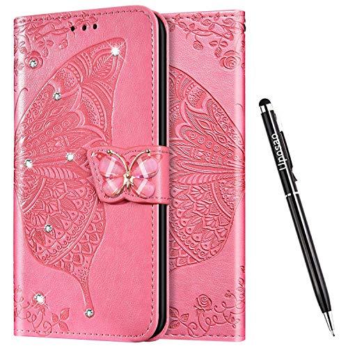 Uposao Kompatibel mit Samsung Galaxy M40 / A60 Hülle Glänzend Bling Glitzer Diamant Handyhülle Schmetterling Blume Schutzhülle Leder Hülle Klapphülle Wallet Flip Case Ständer Kartenfächer,Pink