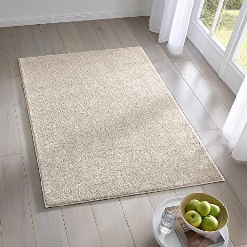 Teppich Wölkchen Kurzflor Teppich I Flauschige Flachflor Teppiche fürs Wohnzimmer, Esszimmer, Schlafzimmer oder Kinderzimmer I Einfarbig I Creme - 80 x 150