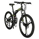 Eurobike G7 Folding Mountain Bikes 27.5 Inches 3 Spoke Wheels 21 Speed Dual Suspension Folding Bicycle Green
