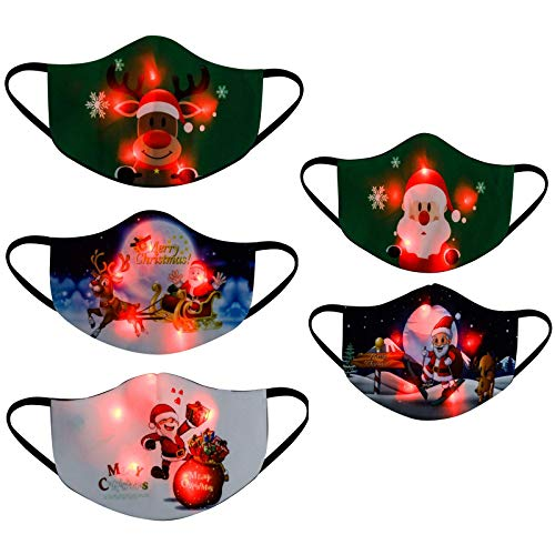 TopLAD 5PC Mixed Pack Christmas Glowing Face_Mask Christmas Luminous Face_Masks Reusable Adjustable Colorful Light Up Face_Mask for Women Men Christmas Party (B)