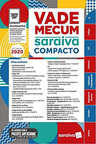 Vade Mecum Compacto Saraiva 2020 - 22ª Edição: Atualizado Com o Pacote Anticrime