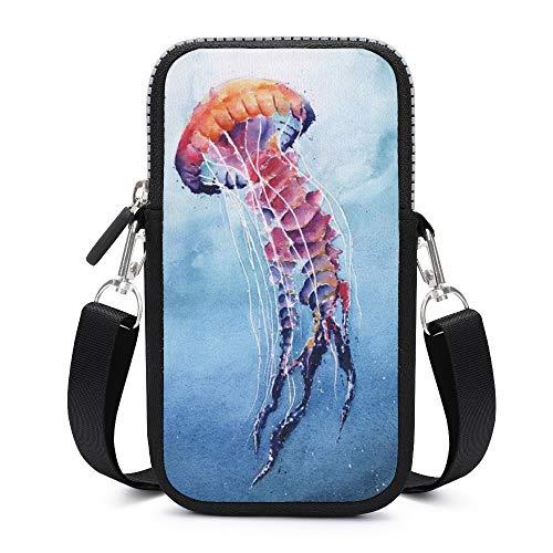 Bolso bandolera para teléfono móvil con correa de hombro extraíble hermosas medusas resistente al desgaste bolsa caso para teléfono brazalete cartera gimnasio fitness bolsas hombres