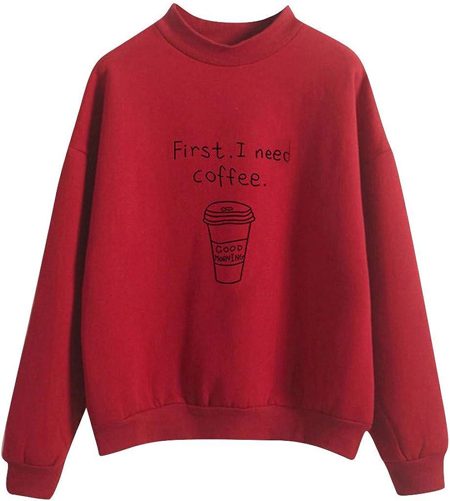 POTO Women Pullover Tops,Women's Casual Letter Print Hooded Long Sleeve Crop Top Sweatshirts Hoodies
