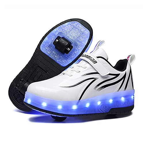 AMXSML Zapatillas de monopatín para niños, con ruedas, con luces LED, color blanco, 37 EU