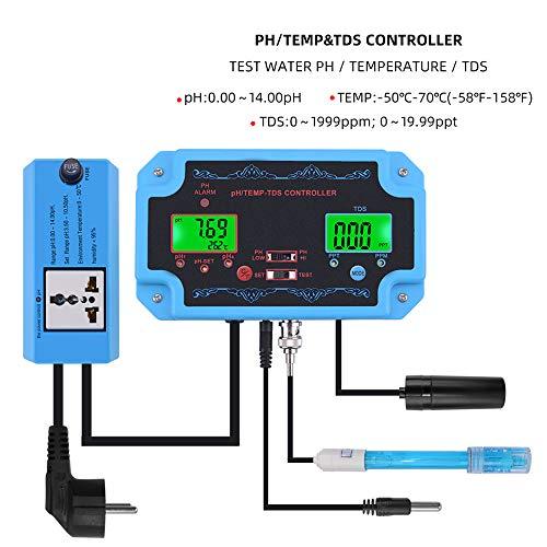 Ph/TDS/Temp-Messgerät 3-1N-1 Digitaler Multiparameter-Wasserqualitätsdetektor Ph-Controller-Relaisstecker Austauschbare Elektrode BNC-Sonde Für Aquarium Hydroponics Laboratory