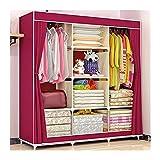 Armarios Dormitorio Armario de dormitorio Muebles de tela Armario Ropa portátil Closet Organizador de almacenamiento con compartimentos y barras ( L 46.5 '× D 17.7' × H 65 ') Roperos ( Color : Red )