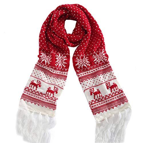 TwoCC-Schal, Weihnachtsschal, Winter Männlich Weiblich Latzschal Warme Wolle mit Schneeflocke Weihnachten (C)