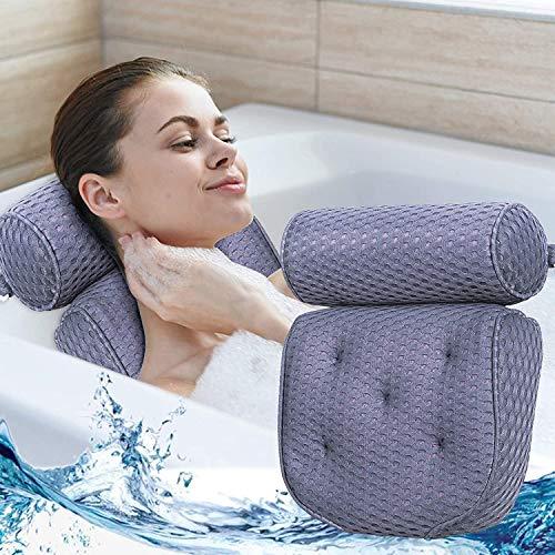 Zeryu Premium Badewannenkissen, Luxus Badewanne/Spa Kissen Perfekt Komfort Whirlpool-Kissen Nackenkissen mit 7 Starken Saugnäpfen