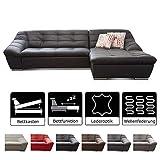 Cavadore Ecksofa Lucas / Kunstleder-Couch mit Steppung und Schlaffunktion / Inkl. Bett und...