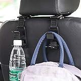 Car Seat Headrest Hooks Vehicle Car Headrest Hooks Hanger 4 Pack Storage Organizer-Strong and Deep Universal for Handbags Purses Coats and Bottle Holder Black
