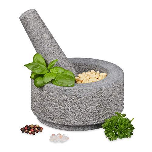 Relaxdays Mörser mit Stößel, Granit, unpoliert, langlebig, massiv, für Gewürze und Kräuter, Steinmörser D: 14 cm, grau