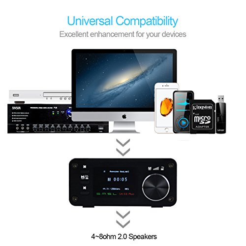 SMSL SA-50 PLUS 50WX2 HIFI Amplifier/DAC/Music Player w/ Remote Control,Digital Power Amplifier,TAS5766M, OLED Display, USB/SD Reader, 3.5mm AUX/Optical Input Jack, Full Digital