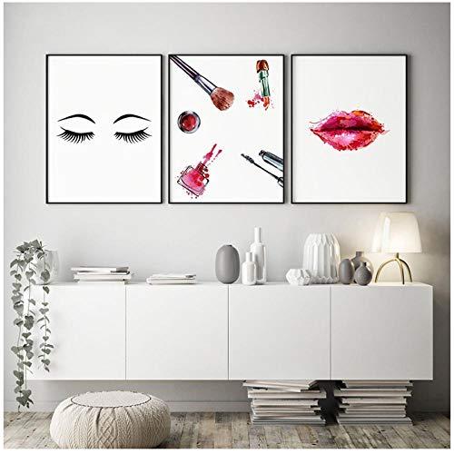 MULMF Wandkunst Leinwand Gemälde Make-Up Wimpern Nordische Mode Lippenstift Bilder Druckt Wohnkultur Poster Für Wohnzimmer- 30X40Cmx3 Kein Rahmen