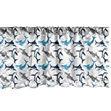 Ambesonne Shark Window Valance, Retro Style Different Abstract Silhouettes of Dangerous High Seas, Curtain Valance for Kitchen Bedroom Decor with Rod Pocket, 54' X 12', Blue Grey