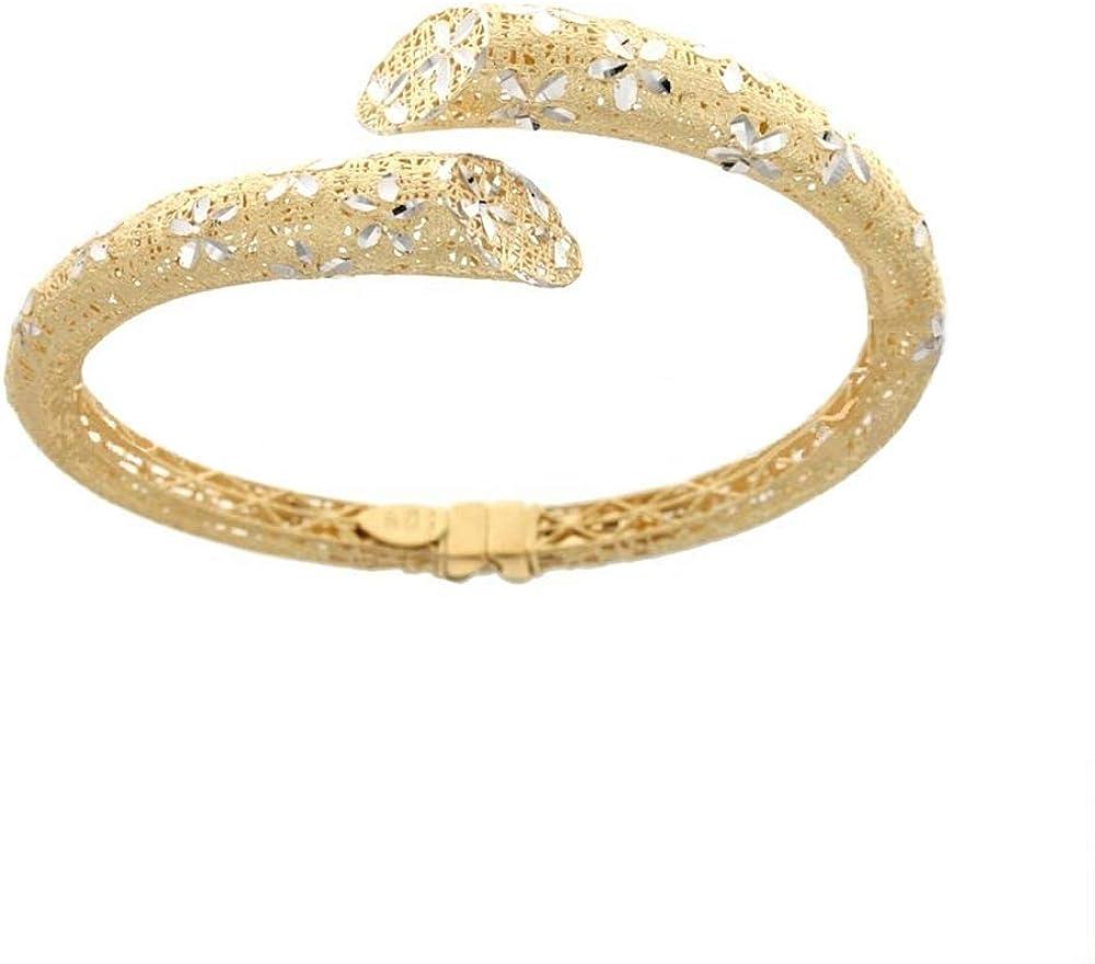 Gioielleria momenti preziosi bracciale rigido per donna in oro giallo e bianco 18k 750/1000(16,gr) 21727045