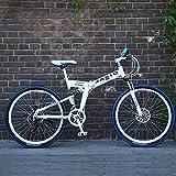 Las bicicletas de montaña, bicicleta plegable 26 pulgadas Suspensión de doble freno de disco completa Anti-Slip, variables bicis de carreras de velocidad for hombres y mujeres, tamaño: 24Speed, Color: